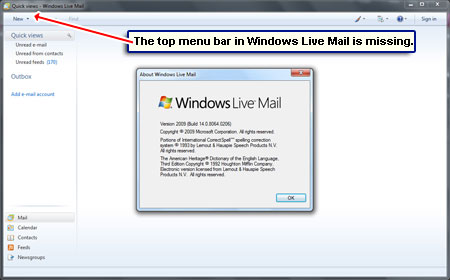The Windows Live Mail toolbar seems to be missing - it's simply hidden