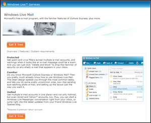 Windows Live Mail homepage screenshot