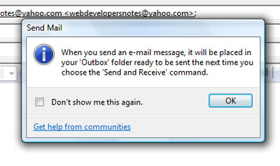 Newly composed email lies in the Windows Mail outbox