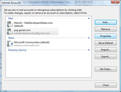 Configure properties of the newly added Gmail account in Windows Mail