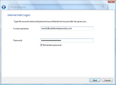 Enter email username and password to set up the email account in Windows Mail Vista