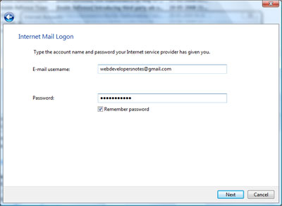Enter Gmail email address and password to configure the account