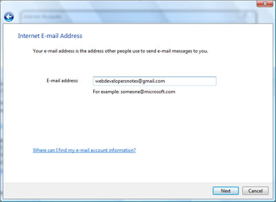 Entering your email address in the Gmail account set up