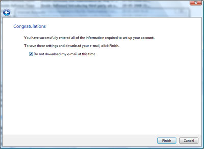 Completion and confirmation window of process of adding and setting up your Gmail account in Windows Mail