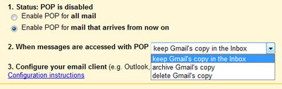 Options for the POP access in Gmail