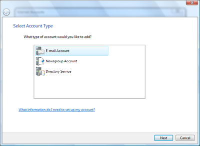 Selecting the email account type for set up in Windows Mail