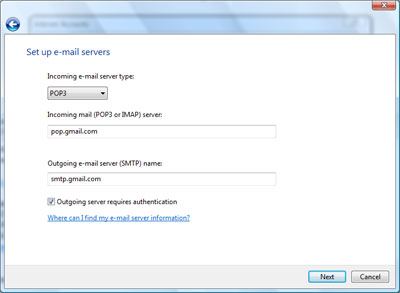 Set up Gmail email server types