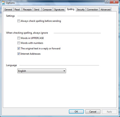 Various spell check options in Windows Mail email client