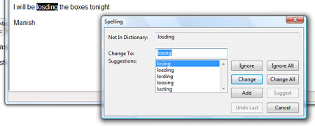 Spell check emails in action on Windows Mail