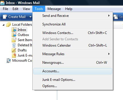 Windows Mail email accounts window