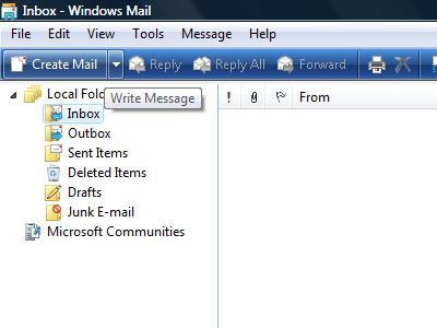 Composing a new email message in Windows Mail