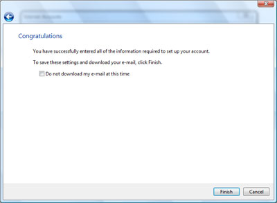 Windows Mail email account setup