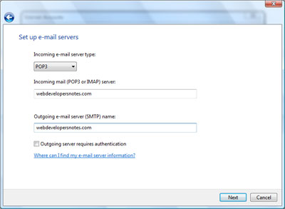 adding incoming and outgoing email servers to Windows Mail new email account