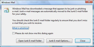 The pop-up window of the junk email filter that informs about phishing email in Windows Mail Vista