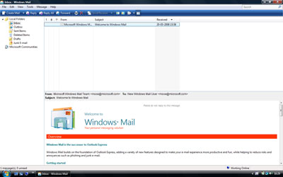 Windows Mail or Outlook Express 7 - the very first look