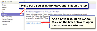 Add a new account to the existing one to change Yahoo email address