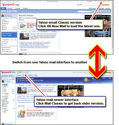 Check your Yahoo email in either of the two interface versions - Mail Classic and All-New Mail