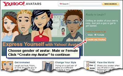 Create an avatar for your Yahoo account