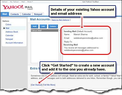 Click on Get Started link to add a new Yahoo account