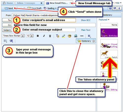 Compose and send a new email message from your Yahoo account