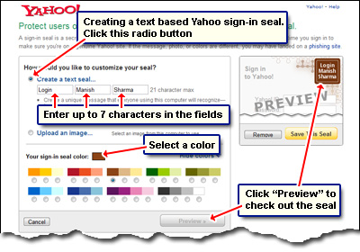 Create a text-based sign-in seal for your Yahoo account