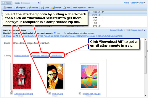 Save an attachment or photo from yahoo mail to your computer with.
