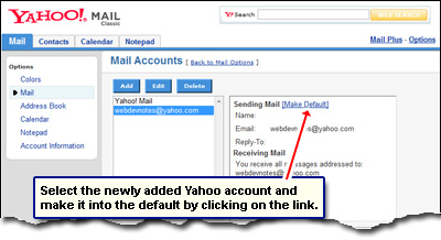 Change Yahoo email address  by making the newly added email account the default