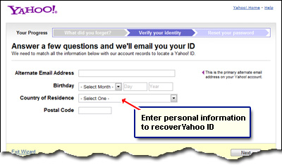 how to recover yahoo password without phone