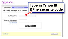 Enter the Yahoo Id and the security code