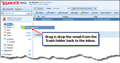 How to recover deleted emails from yahoo inbox
