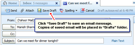 Save an email message in the Drafts folder in Yahoo