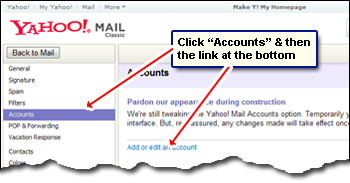 How to add another Yahoo email to the existing one