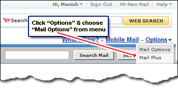 The Mail Options in Yahoo Classic interface