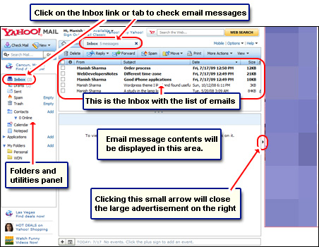 The layout of the Yahoo email account - Inbox with list of emails, folder and utilities panel