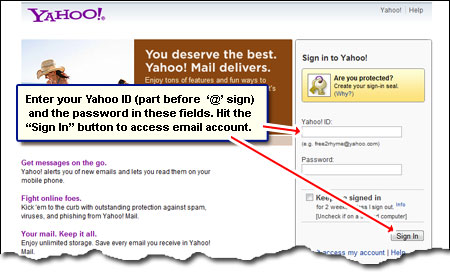 Sign in at your Yahoo Mail account by entering the ID and password
