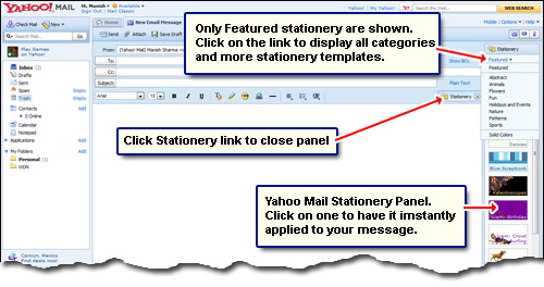 The Free Yahoo Mail Stationery Which Can Be Lied With A Single Mouse Click