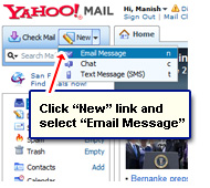 Compose a new email in yahoo - click on the New link and then select Email Message