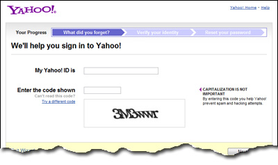 how to reset forgot password yahoo mail