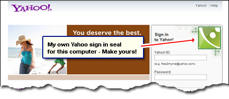 Make your Yahoo sign in seal to customize page and protect from phishing attacks