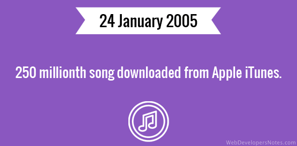 250 millionth song downloaded from Apple iTunes.