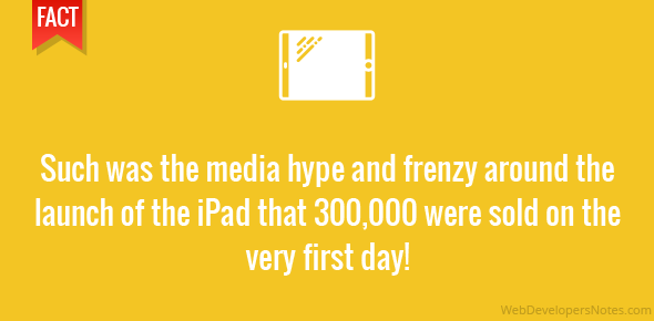 Such was the media hype and frenzy around the launch of the iPad that 300,000 were sold on the very first day!