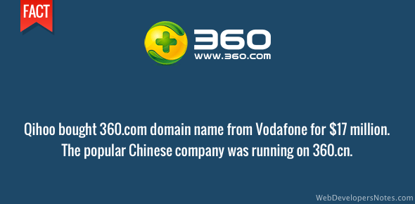 360.com domain name sold for $17 million