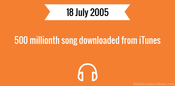 500 millionth song downloaded from iTunes
