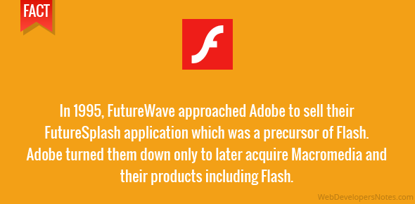 Adobe had refused to purchase Flash when it was with FutureSplash