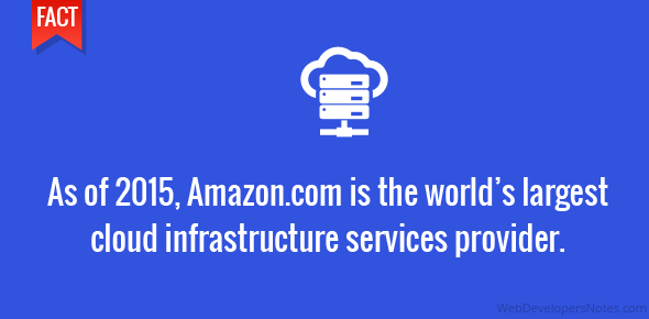 As of 2015, Amazon.com is the world largest cloud infrastructure services provider.