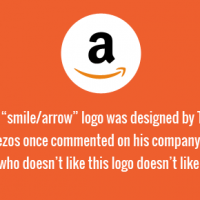 """The Amazon.com """"smile/arrow"""" logo was designed by Turner Duckworth. Jeff Bezos once commented on his company's logo, """"Anyone who doesn't like this logo doesn't like puppies."""""""