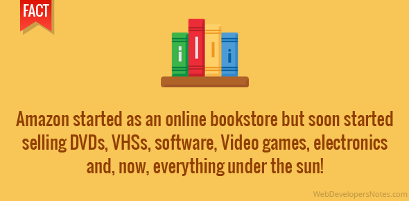 Amazon started as an online bookstore but soon started selling DVDs, VHSs, software, Video games, electronics and, now, everything under the sun!