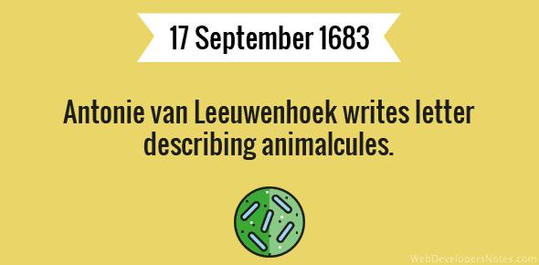 Antonie van Leeuwenhoek writes letter describing animalcules.
