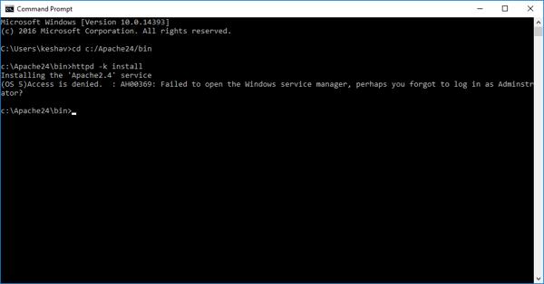 Error when installing Apache on Windows 10 - Access is denied. : AH000369