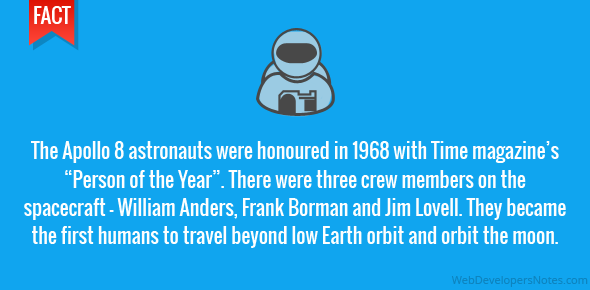 The Apollo 8 astronauts were honoured in 1968 with Time magazine's
